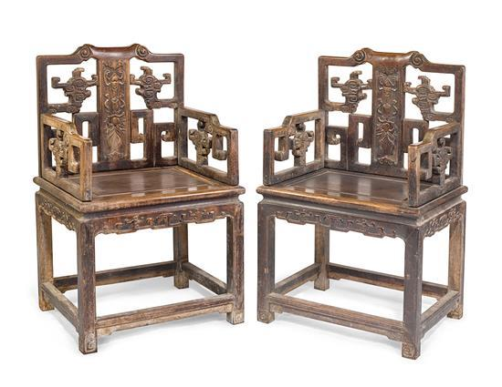A pair of hardwood arm chairs, Fushouyi (2)