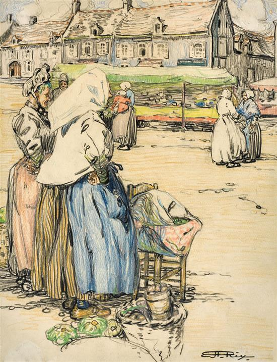 HILDA RIX NICHOLAS 1884-1961 (Market at Etaples) (circa 1910) pencil on paper
