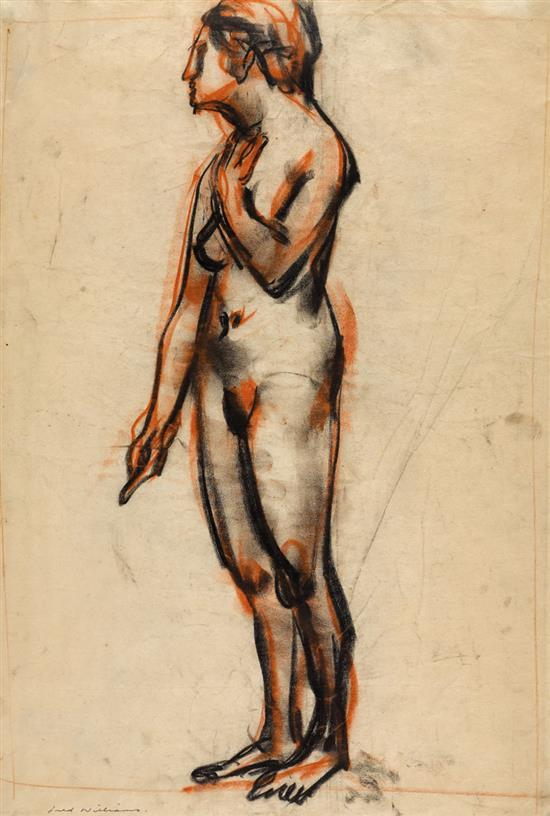 FRED WILLIAMS 1927-1982 (Nude) charcoal and pastel on paper