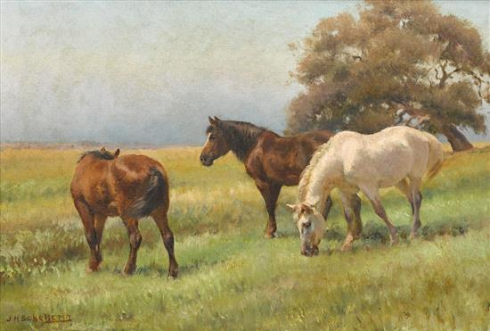 J.H. SCHELTEMA 1861-1941 (Three Horses) oil on canvas