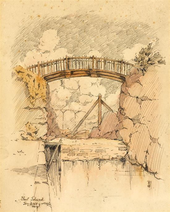 ROY DE MAISTRE 1894-1968 Goat Island 1914 pen and ink and wash on card