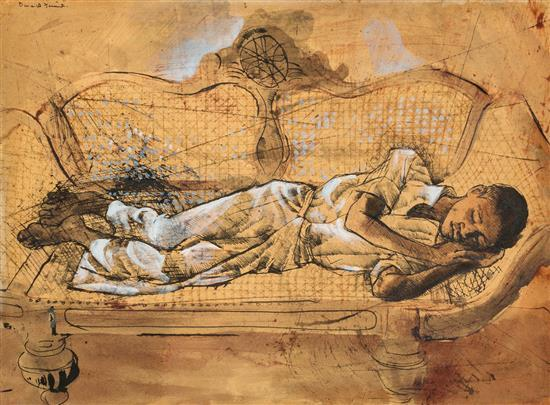 DONALD FRIEND 1915-1989 (Sleeping Boy) ink, watercolour, gouache on paper on board