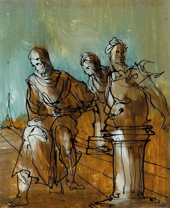 SIDNEY NOLAN 1917-1992 (Classical Scene) (1950) ink and enamel paint on glass
