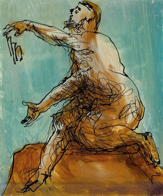 SIDNEY NOLAN 1917-1992 (Classical Figure) (1950) ink and enamel paint on glass