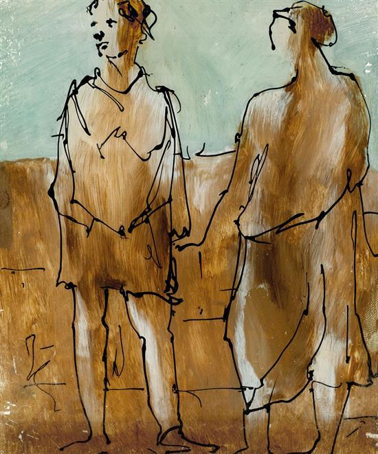 SIDNEY NOLAN 1917-1992 (Two Figures) (1950) ink and enamel paint on glass