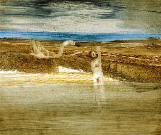 SIDNEY NOLAN 1917-1992 Leda and the Swan 1961 oil on card