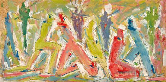 ROGER KEMP 1908-1987 Figures (circa 1938) oil on cardboard