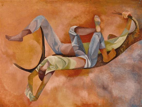 DOROTHY BRAUND 1926-2013 Boys Dreaming 1971 oil on composition board