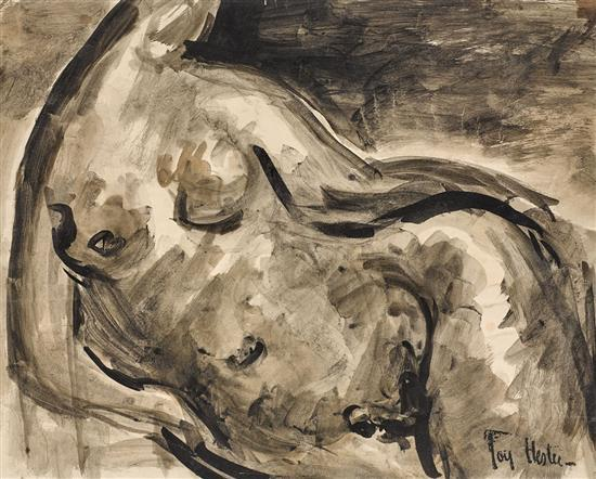 JOY HESTER 1920-1960 Female Nude (circa 1945) brush and ink on paper