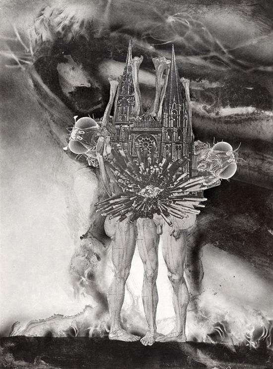 JAMES GLEESON 1915-2008 On Three Columns the Church of Bones Rises to the Clouds sythetic polymer paint, ink, wash and collage on pa...