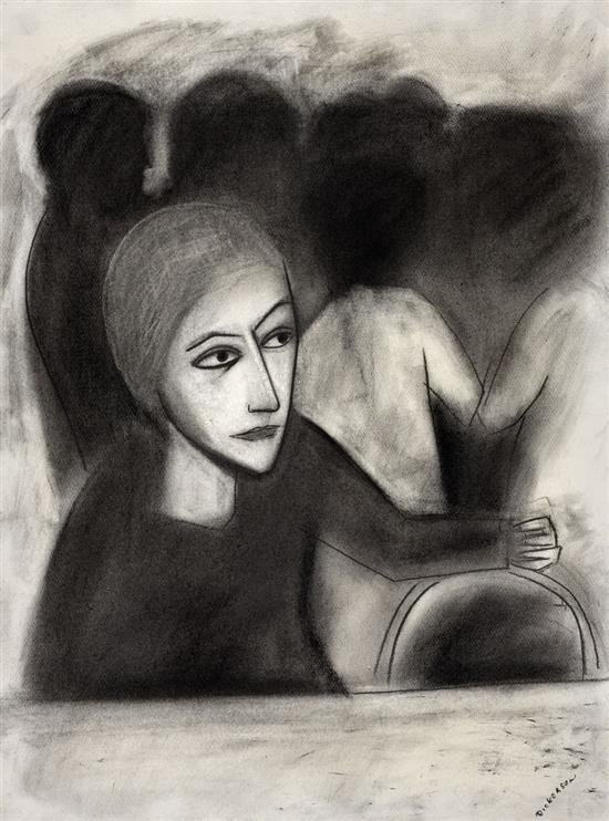 ROBERT DICKERSON 1924-2015 (Café Scene) charcoal on paper