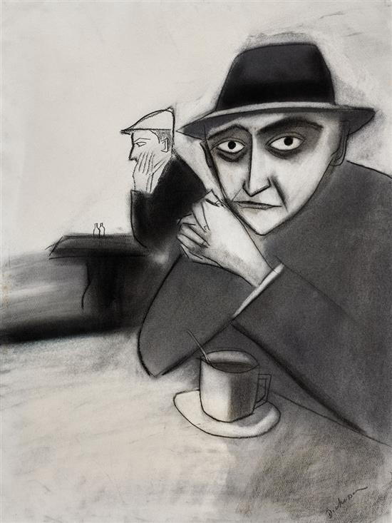 ROBERT DICKERSON 1924-2015 (Café Scene) charcoal on paper