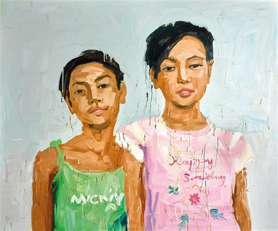 ZHONG CHEN born 1969 Untitled (Portrait of Two Girls) 2007 oil on canvas
