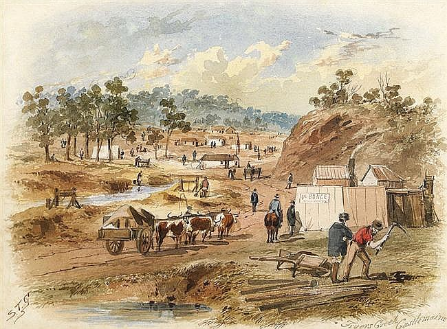 S.T. Gill 1818-1880 FRYERS CREEK, CASTLEMAINE watercolour