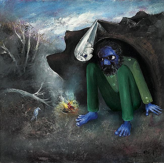 Arthur Boyd 1920-1999 THE FRIGHTENED BRIDEGROOM (1958) oil and tempera on composition board
