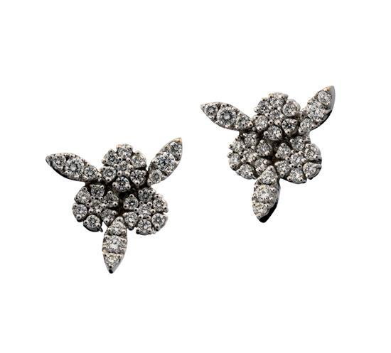 Pair of 18ct white gold and diamond ''Garden of Eden'' earrings, Pasquale Bruni, circa 2006