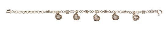 18ct white gold, diamond and coloured diamond ''Cognac'' charm bracelet, Pasquale Bruni, circa 2004