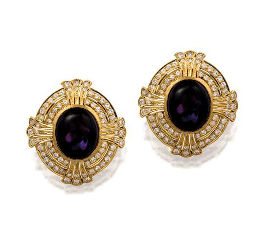 Pair of 18ct gold, amethyst and diamond earrings