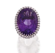 18ct white gold, amethyst and diamond ring