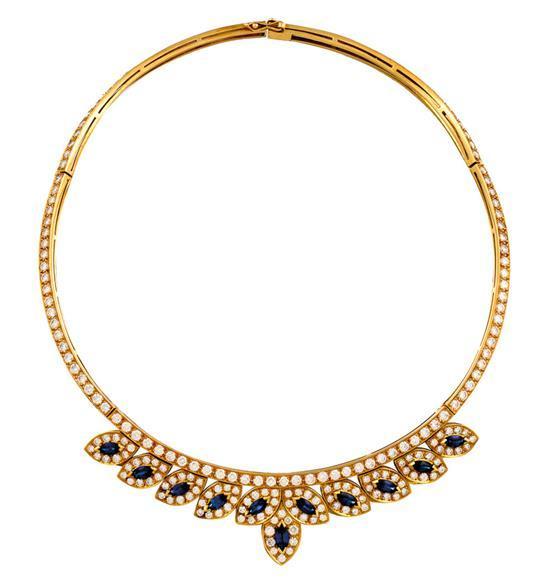 18ct gold, sapphire and diamond necklace, J. Farren Price, circa 1999