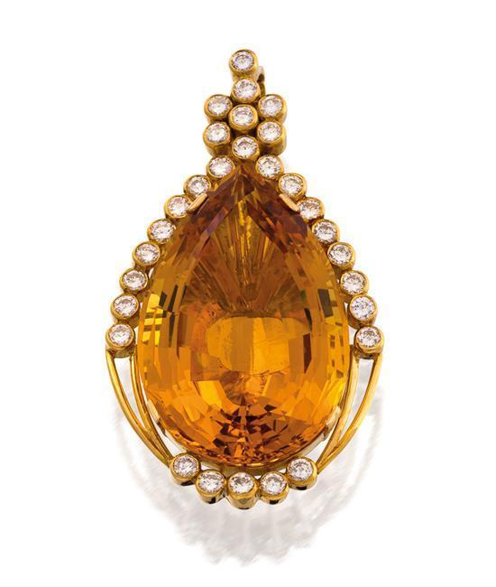 18ct gold, golden beryl and diamond pendant, C.A. Bochert, circa 2000
