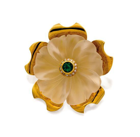 18ct gold, rock crystal, emerald and diamond ''Camellia'' pendant, Robert Clerc, circa 2004