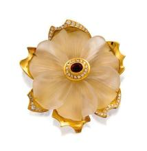 18ct gold, rock crystal, ruby and diamond ''Camellia'' pendant, Robert Clerc