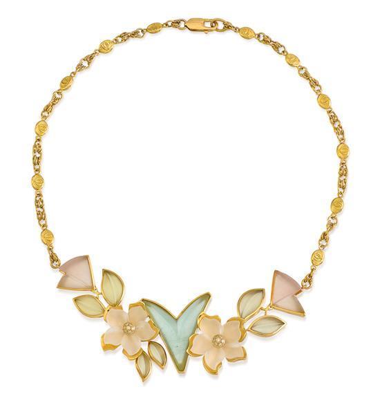 18ct gold, aquamarine, rock crystal and diamond necklace, Robert Clerc, circa 2006