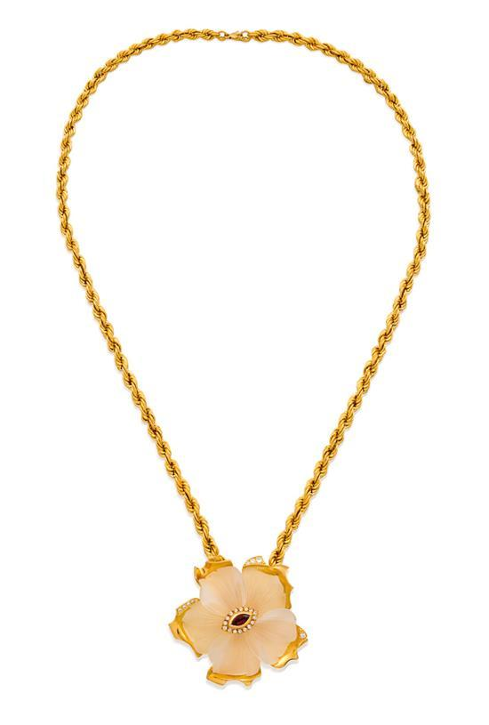 18ct gold, rock crystal, ruby and diamond ''Gardenia'' pendant necklace, Robert Clerc, circa 1997
