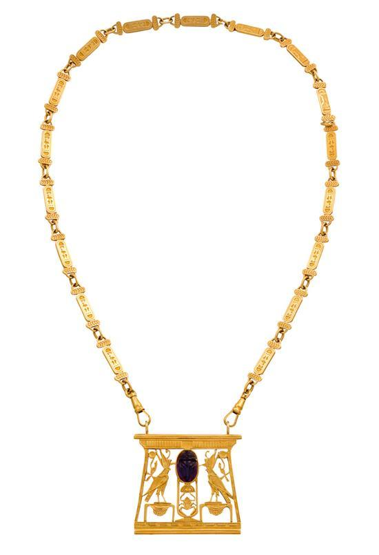 18ct gold and amethyst ''Egyptian Collection'' pectoral necklace, Robert Clerc