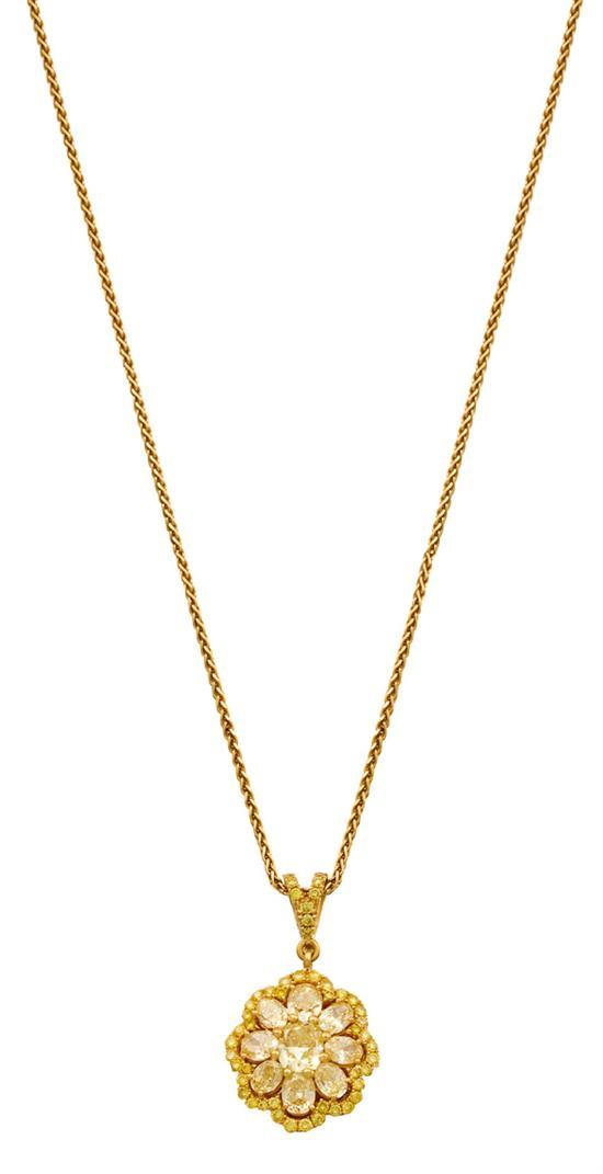 18ct gold and fancy yellow diamond pendant necklace