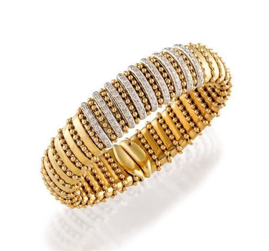 18ct bi-colour gold and diamond cuff