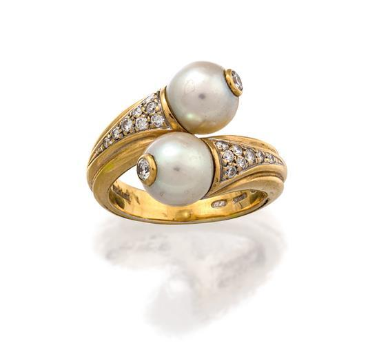 18ct gold, diamond and pearl ring, Bulgari