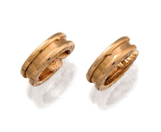 Pair of 18ct rose gold ''B-zero1'' earrings, Bulgari