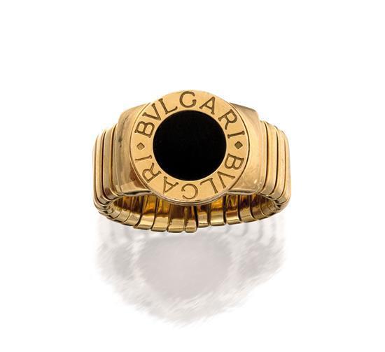 18ct gold and onyx ''BVLGARI BVLGARI'' ring, Bulgari