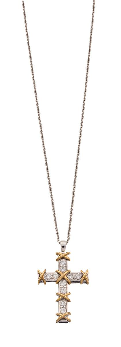 Platinum, 18ct gold and diamond ''Ten Stone Cross'' pendant necklace, Jean Schlumberger for Tiffany & Co.