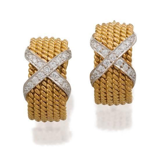 Pair of 18ct gold, platinum and diamond ''Signature X'' earrings, Jean Schlumberger for Tiffany & Co., circa 1990