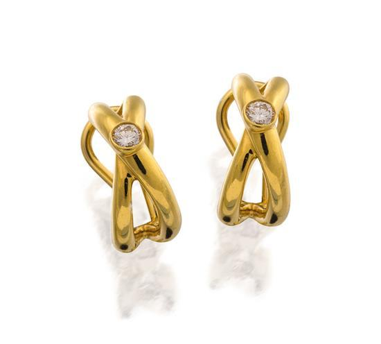 Pair of 18ct gold and diamond earrings, Paloma Picasso for Tiffany & Co.