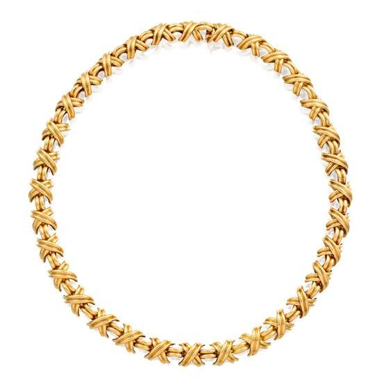 18ct gold ''Signature X'' necklace, Tiffany & Co.