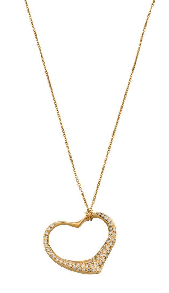 18ct gold and diamond ''Open Heart'' pendant necklace, Elsa Peretti for Tiffany & Co., circa 1980