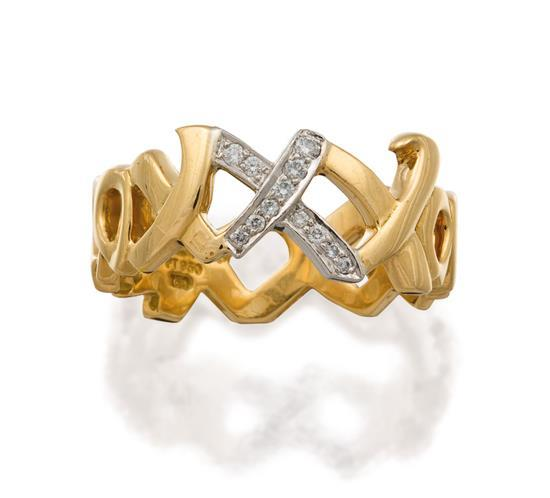 18ct gold, platinum and diamond ''Love and Kisses'' ring, Paloma Picasso for Tiffany & Co.