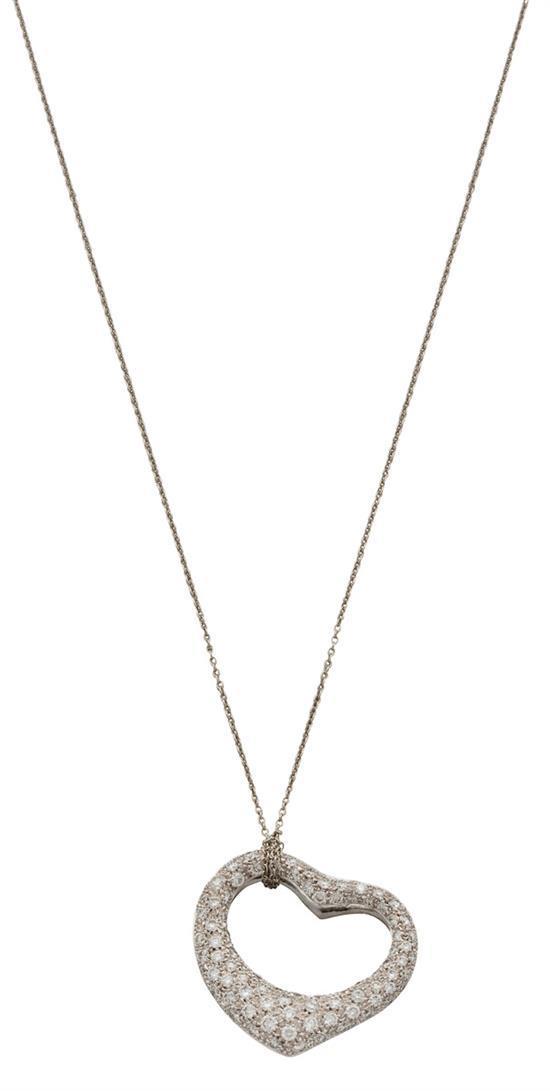 Platinum and diamond ''Open Heart'' pendant necklace, Elsa Peretti for Tiffany & Co., circa 1980
