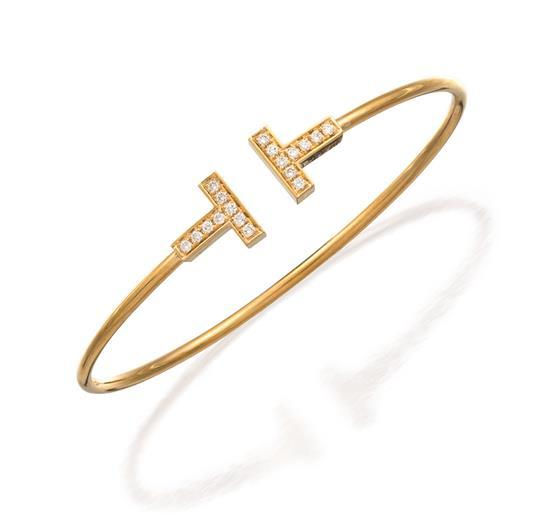 18ct gold and diamond ''T'' bangle, Tiffany & Co.