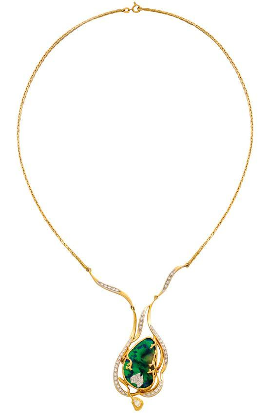 18ct gold, diamond and opal necklace, circa 1991