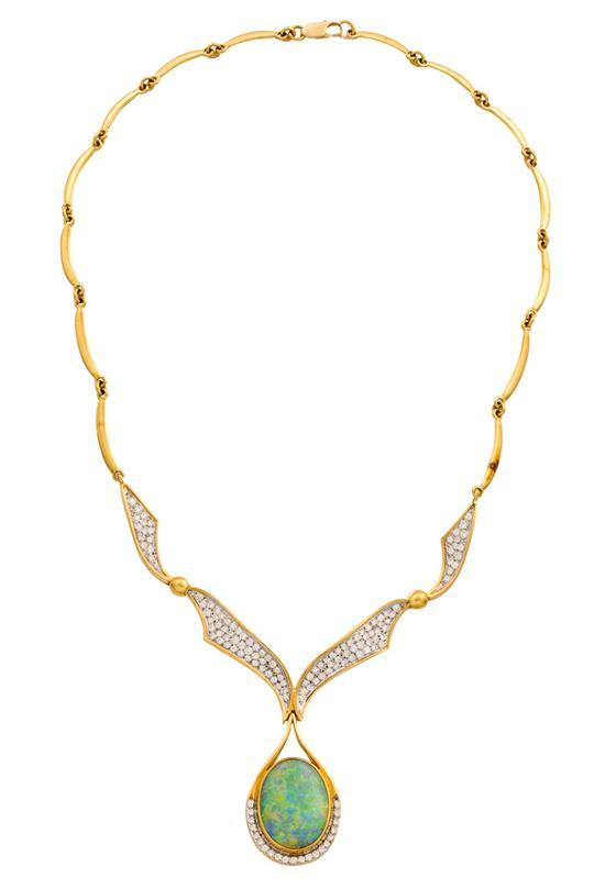 18ct gold, opal and diamond necklace