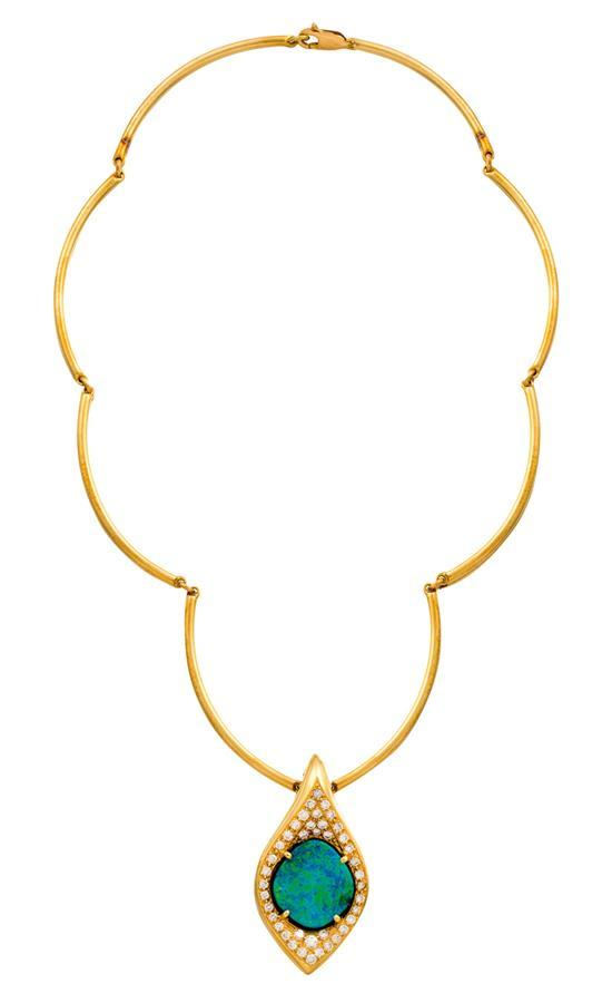 18ct gold, opal and diamond necklace, Giulians, circa 2001