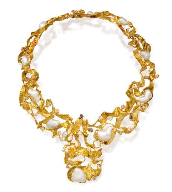 18ct gold, south sea pearl, diamond and coloured diamond necklace, C. A. Bochert, circa 1994