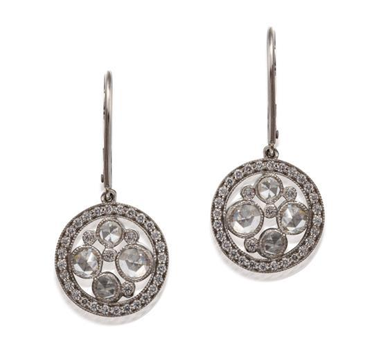 Pair of platinum and diamond ''Cobblestone'' pendant earrings, Tiffany & Co.