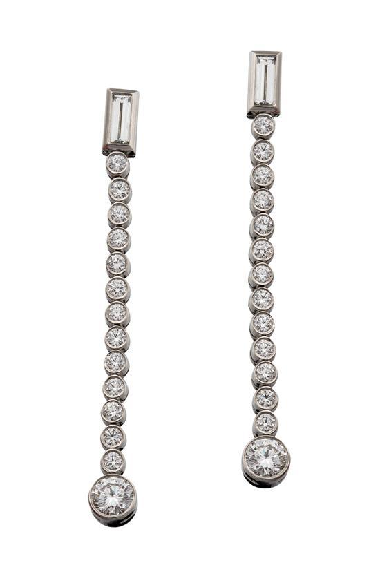 Pair of platinum and diamond ''Jazz'' drop earrings, Tiffany & Co., circa 2003