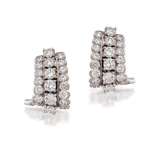 Pair of platinum and diamond earrings, Tiffany & Co.